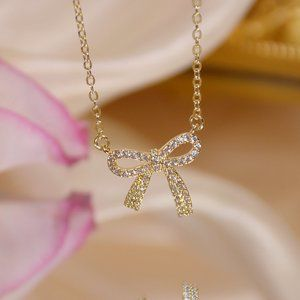 NEW 14K Gold Plated Diamond Bow Knot Necklace a